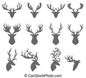 Set of a deer head silhouette on white background - Vector...