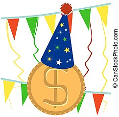 golden Dollar coin covered with festive cap