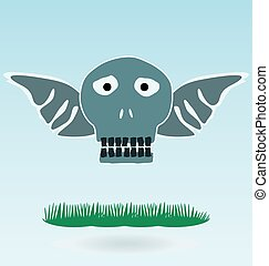 Skull with Wings, grass concept