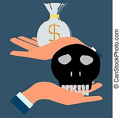 human skull in hand, money bag.
