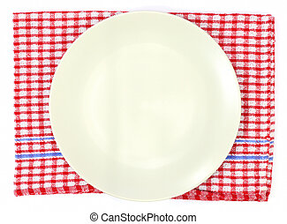 off white plate on red checked tablecloth