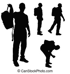 man with backpack vector