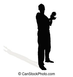 man with globe in hand vector