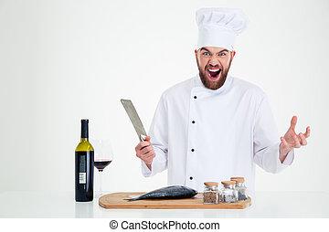 retrato, de, Un, alegre, macho, Chef, cocinero, preparando,...