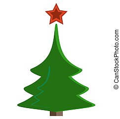 green Christmas tree with a red star
