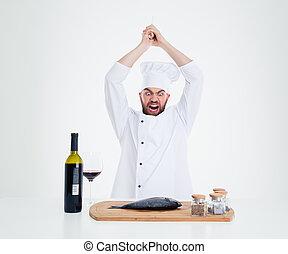 retrato, de, enojado, macho, Chef, cocinero, corte, fish, ,