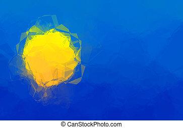 Palau flag - triangular polygonal pattern