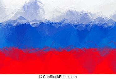 Russian flag - triangular polygonal pattern