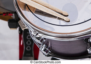 Drum Sticks Prepared For Playing - A set of drum sticks on a...