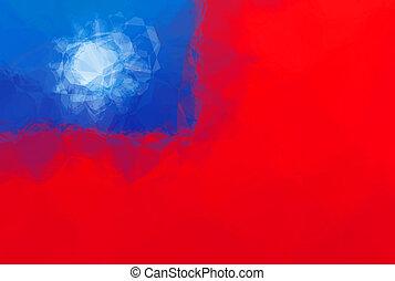 Taiwan flag - triangular polygonal pattern