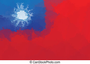 Taiwan flag - grunge design pattern