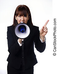 Business woman using megaphone - Business woman speaking...