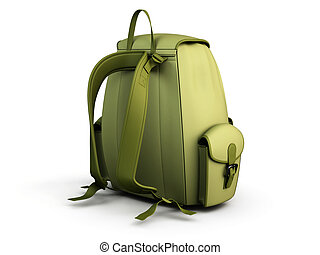 Travel backpack isolated on white background. 3d render...