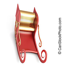 Sleigh of Santa Claus isolated on white background 3d render...