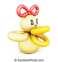Duck of balloons isolated on white background.