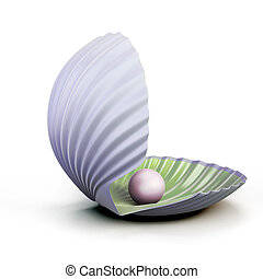 Shell pearl isolated on white background. 3d illustration.