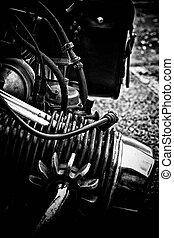 motor, vendimia, motocicleta, detalle