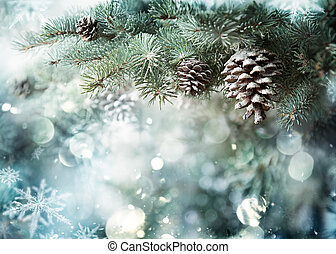 Fir Branch With Pine Cone And Snow