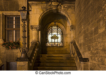 Part of the cityhall in Quedlinburg at night, Germany