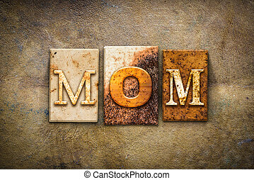 Mom Concept Letterpress Leather Theme - The word MOM written...