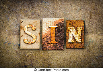 Sin Concept Letterpress Leather Theme - The word SIN written...
