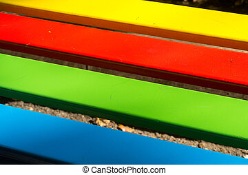 Bright Rainbow Wood - Brightly painted wooden rainbow...