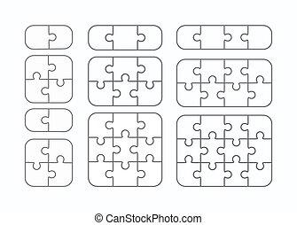 Jigsaw puzzle vector flat blank templates set - Jigsaw...