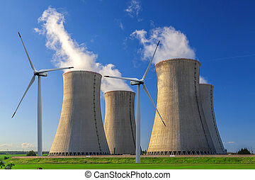 Nuclear power plant with wind turbines in Czech Republic...