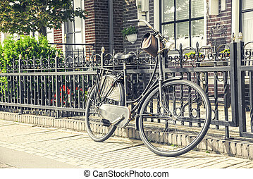 Retro style bicycle. Country village in the Netherlands.