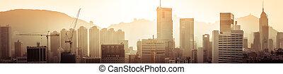 Hong Kong aerial panorama view at sunset