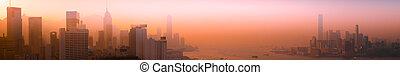 Hong Kong aerial cityscape panorama view at sunset