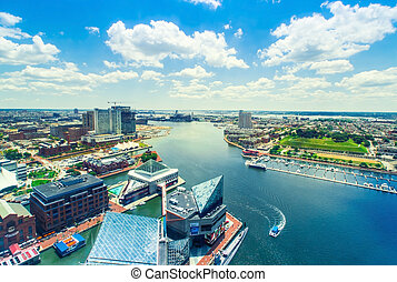Inner Harbor of Baltimore, Maryland - Aerial view of the...