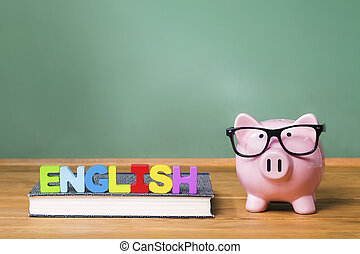 English language theme with pink piggy bank with chalkboard...