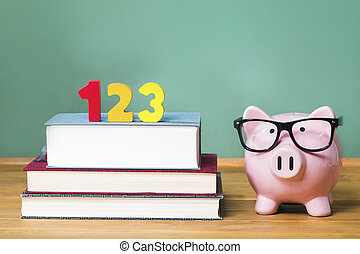 School with pink piggy bank with chalkboard - School theme...