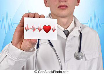 visiting card with pulse symbol - doctor holding visiting...