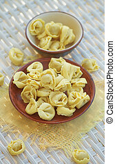 Meat Cappelletti - Arrangement of Raw Meat Cappelletti in...