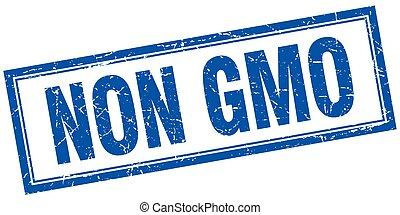 non gmo blue square grunge stamp on white