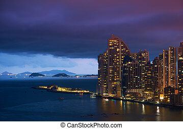 Panama City Trump Ocean Club Skyscraper At Night - Panama...