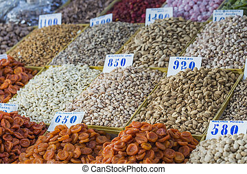 Dry fruits and spices like cashews, raisins, cloves, anise,...