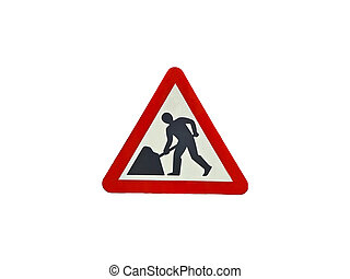 Road work traffic sign isolated over white