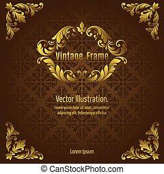 Vintage Gold Frame - Frame gold acanthus vintage signage...