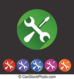 Repair icon flat web sign symbol logo label set - Repair...