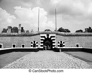 Entrance gate to Small Fortress of Terezin, Czech Republic,...