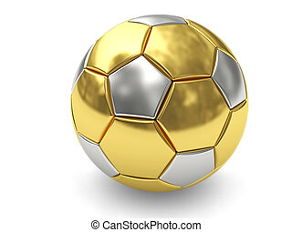 Gold soccer ball on white background rendered with soft...
