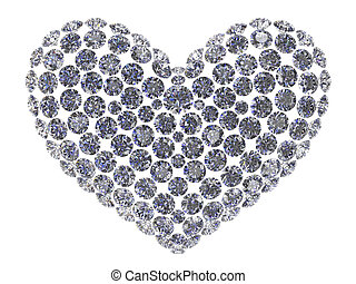 Diamond heart - Shape of heart composed of different...