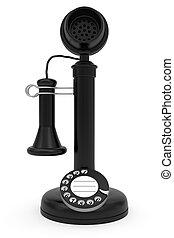Black retro-styled telephone on white background. High...