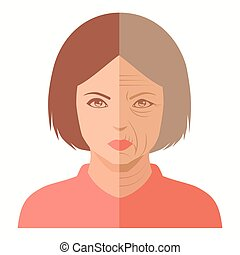 woman face, before and after agin - vector portrait, woman...