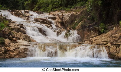 closeup front view of waterfalls cascade of mountain stream...