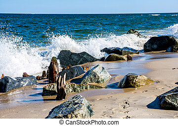 Rock and Sea - A rocky shoreline at Sandy Hook along the...