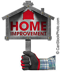 Home Improvement Sign with Meter Tool - Hand with work glove...